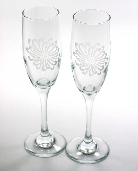 set of 2 Chrysanthemum Flower champagne flutes