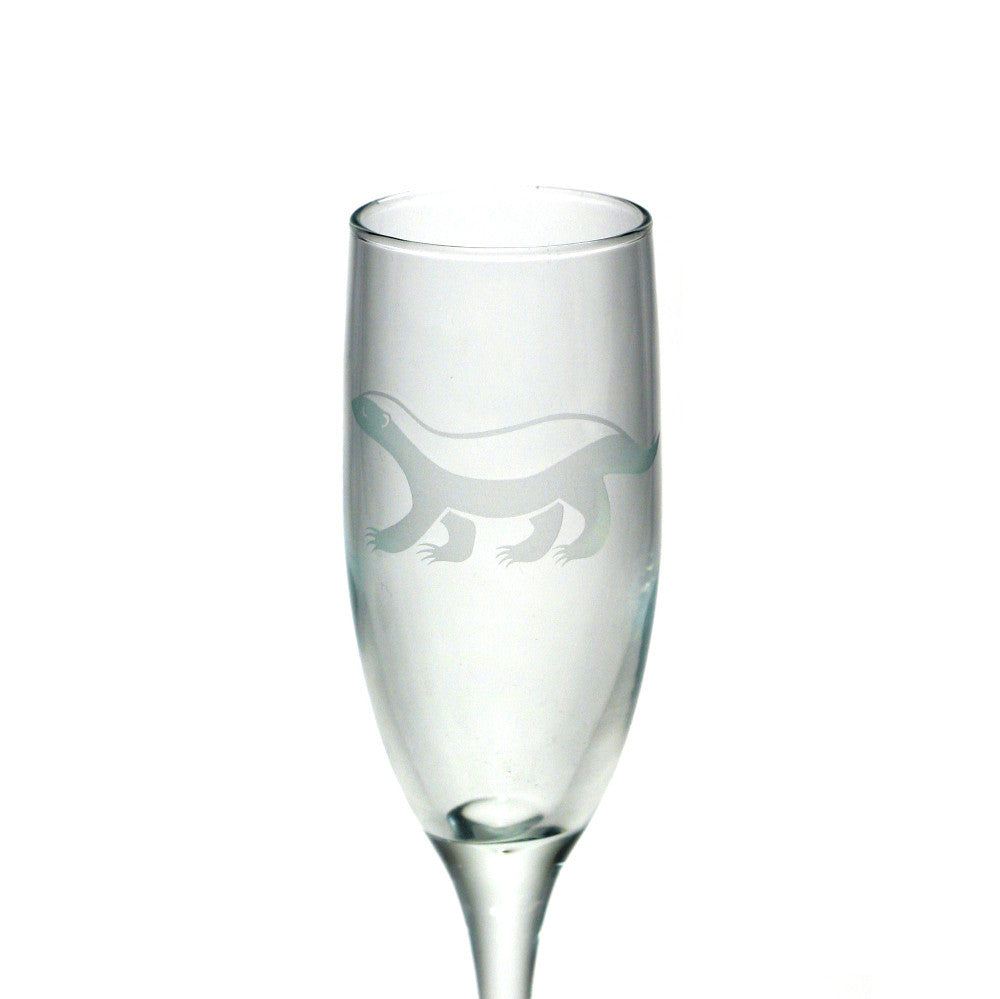 Honey Badger champagne flute