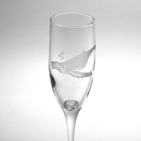 Humpback Whale champagne flute by Bread and Badger