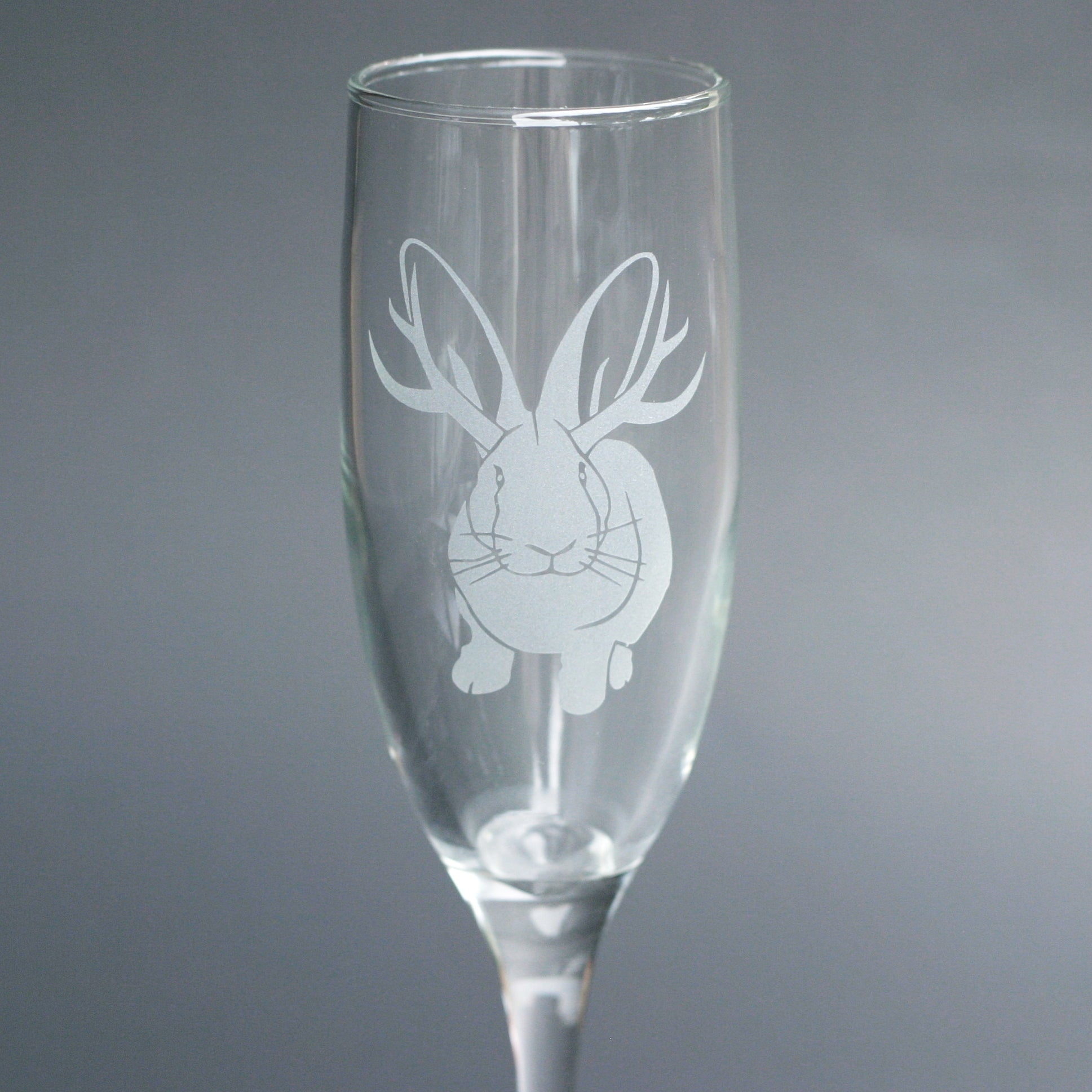 Jackalope bunny champagne flute by Bread and Badger