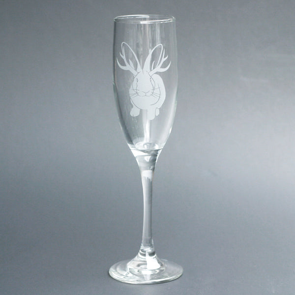 Jackalope rabbit champagne flute by Bread and Badger