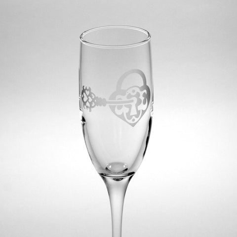 heart lock and key champagne flute by Bread and Badger