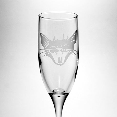 Laughing Cat Champagne Flute