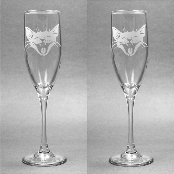 Laughing Cat Champagne Toasting Flutes Set of 2