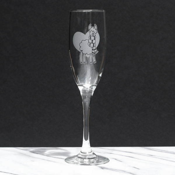 Llama champagne glass by Bread and Badger
