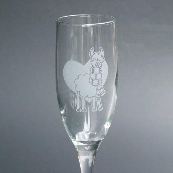 Llama champagne flute by Bread and Badger