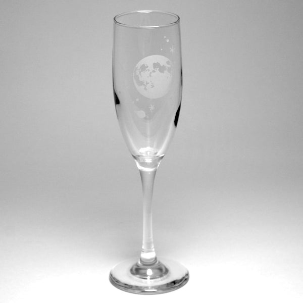 Moon and stars astronomy champagne flute