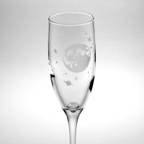 Moon and stars champagne flute