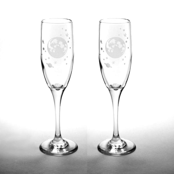 Moon and Stars Champagne Toasting Flutes Set of 2