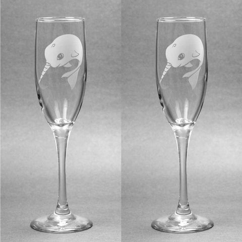 Narwhal Glass Champagne Flute (Retired)
