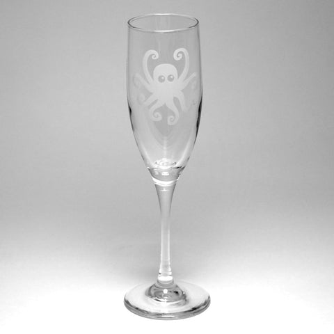 Octopus Glass Champagne Flute (Retired)