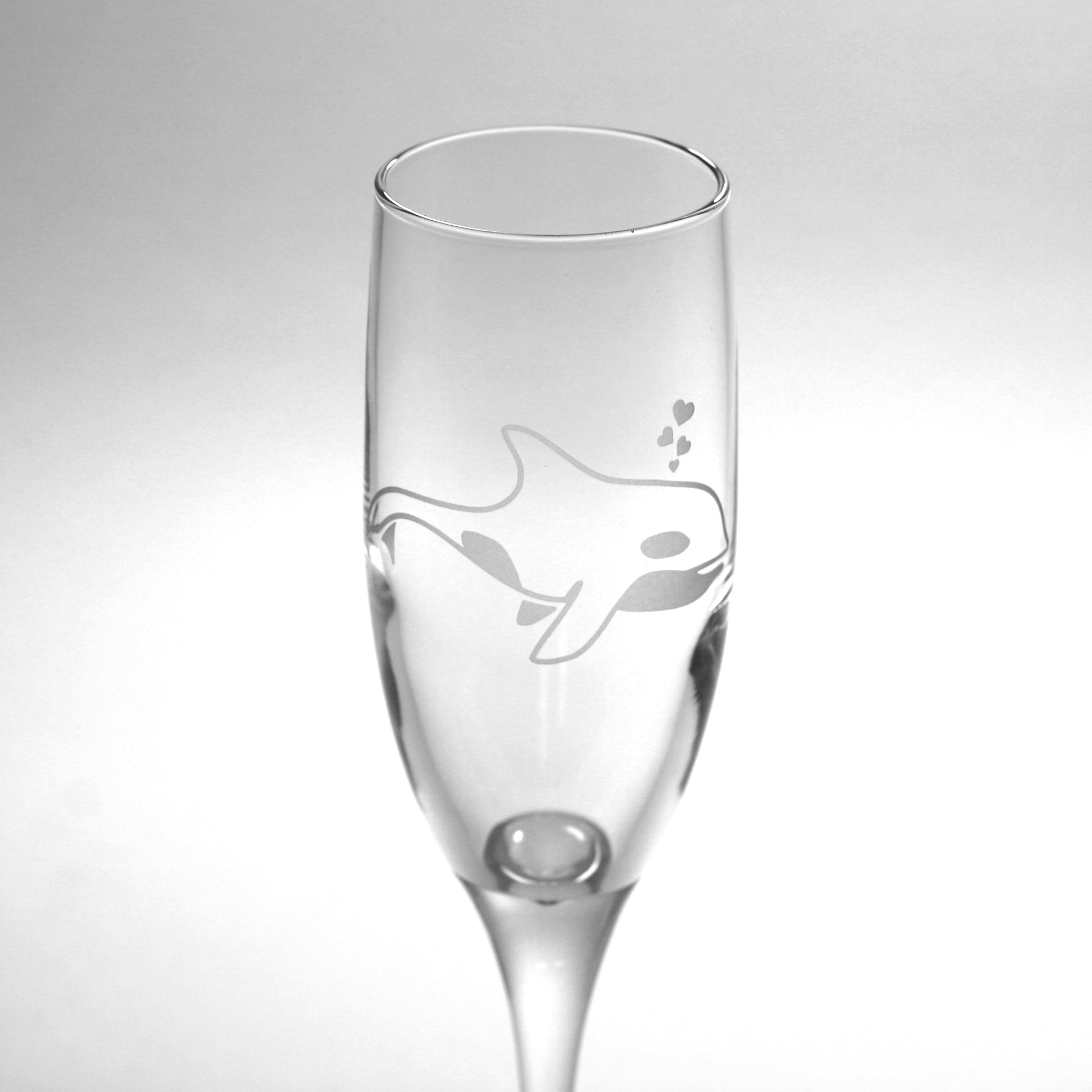 Orca Whale champagne flute by Bread and Badger