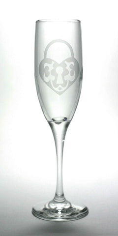 Key to My Heart Champagne Flute Set of 4 (Retired)