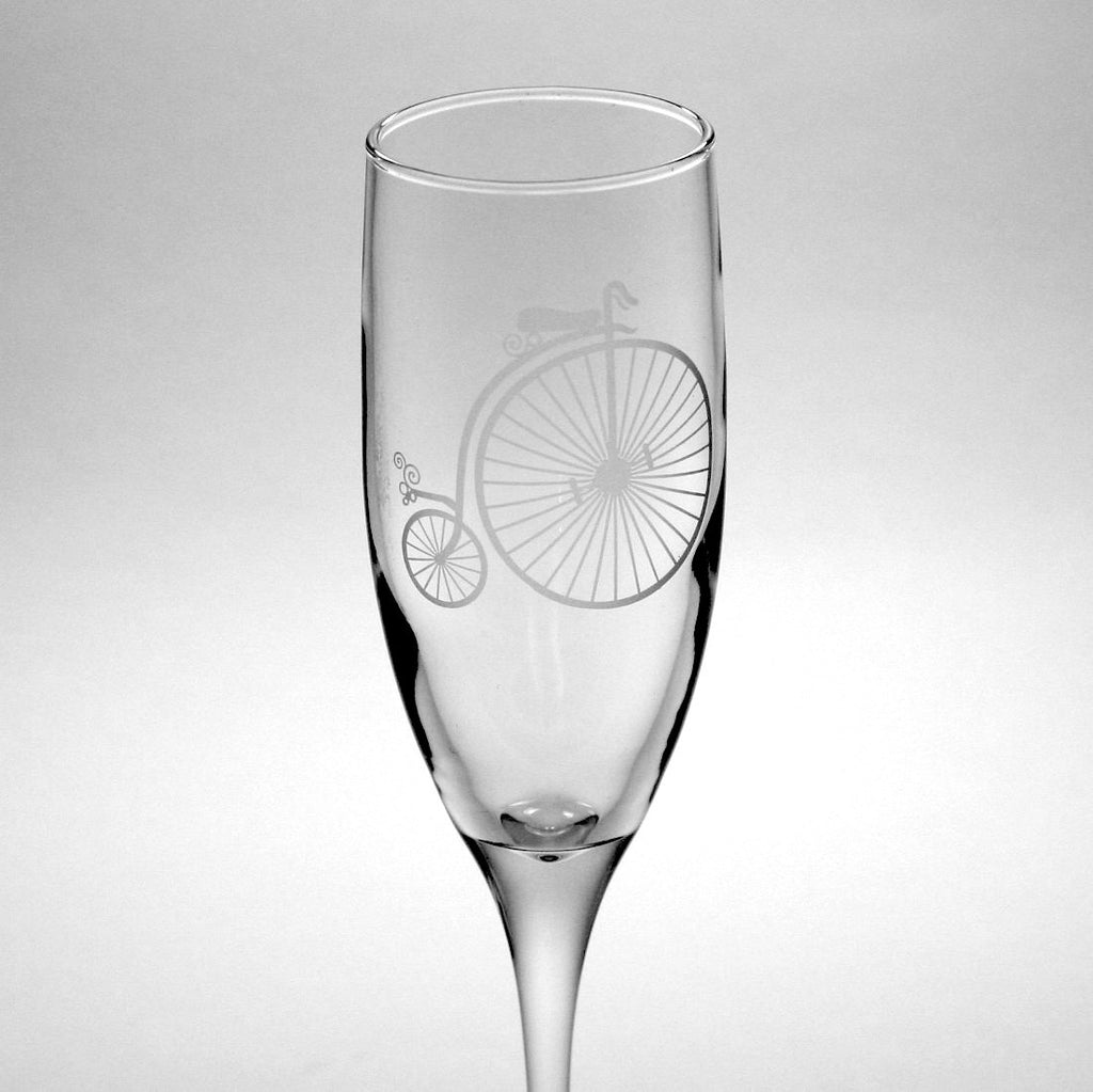 penny farthing bicycle champagne flute