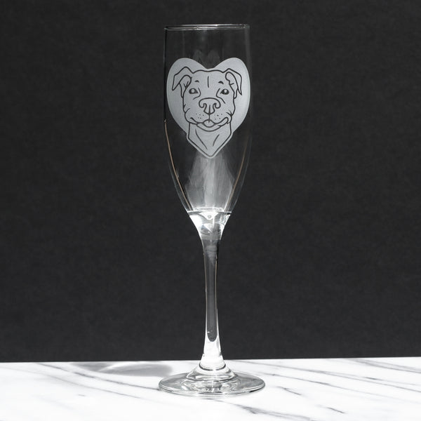 Pit Bull Dog champagne glass by Bread and Badger