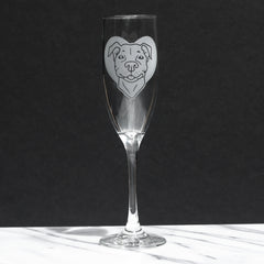 Pit Bull Dog Glass Champagne Flute (Retired)