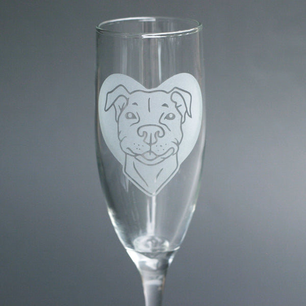 Pit Bull Dog champagne flutes by Bread and Badger