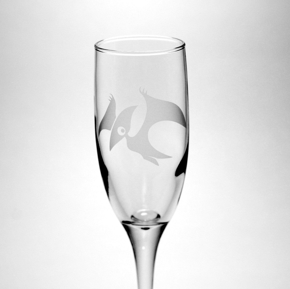 pterodactyl dinosaur champagne flute