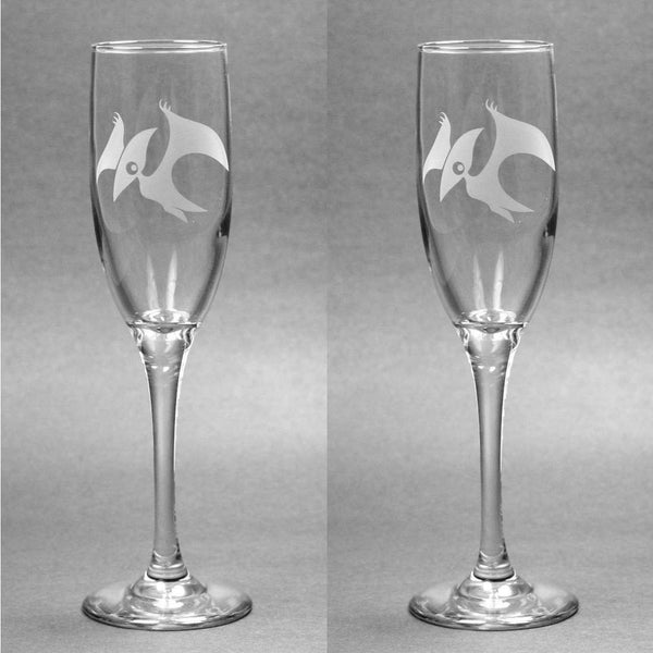 Pterodactyl Dinosaur Champagne Toasting Flutes Set of 2