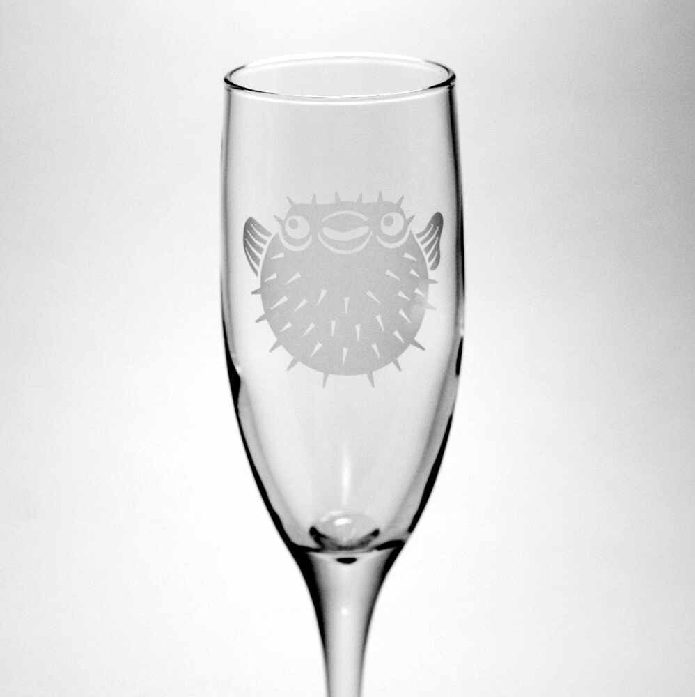 Puffer fish champagne flute