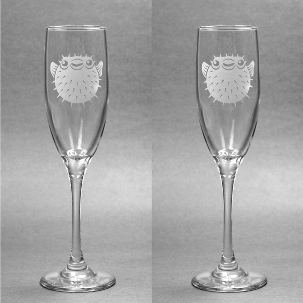 pufferfish champagne flutes set of 2