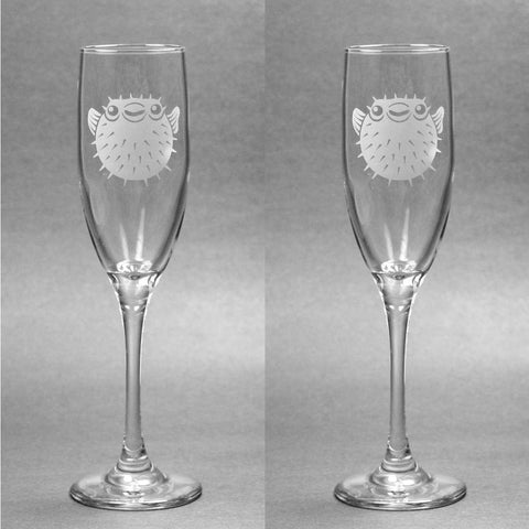Puffer Fish Glass Champagne Flute (Retired)