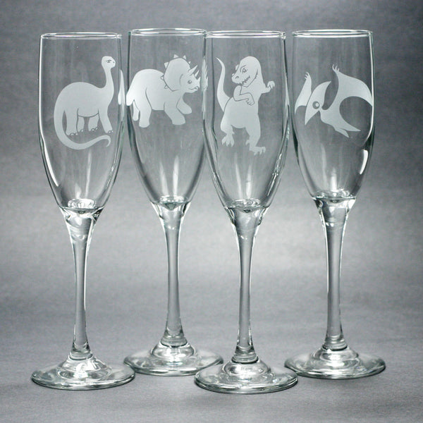 set of 4 dinosaur champagne flutes