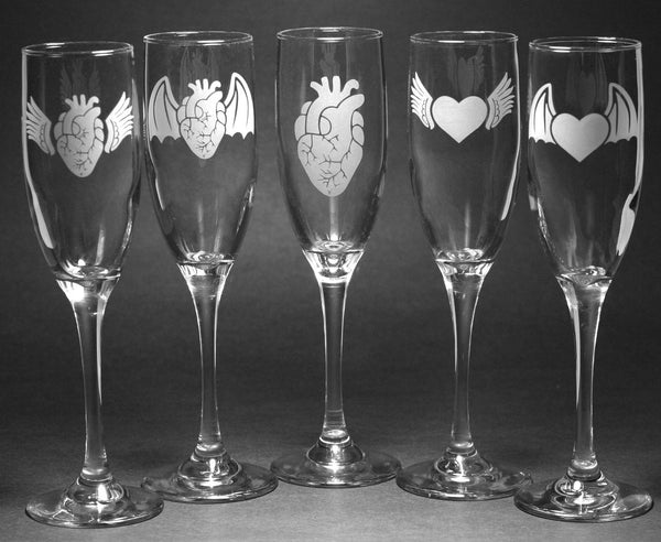 Heart set of champagne flutes for weddings, anniversaries