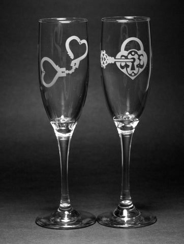 Key to My Heart Champagne Flute