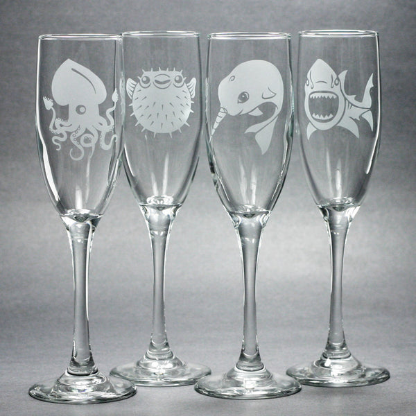 nautical animal champagne flute set