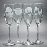Nautical Champagne Flutes set of 4