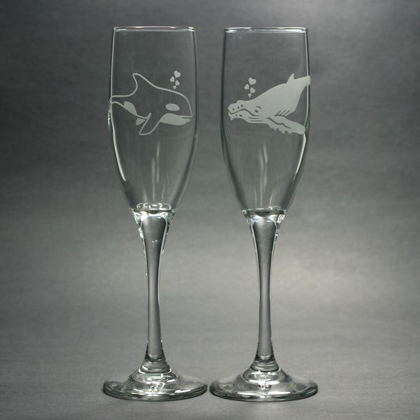 Whale champagne flutes by Bread and Badger