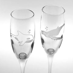 Whale Glass Champagne Flutes Set of 2 (Retired)