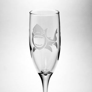 great white shark champagne flute