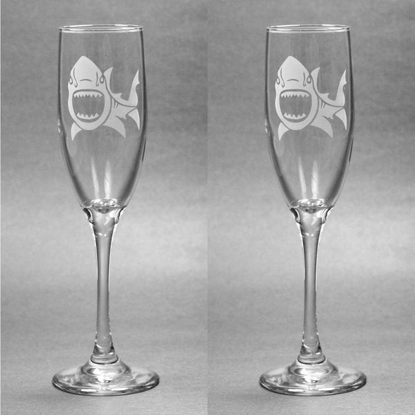 Shark Nautical Champagne Toasting Flutes Set of 2