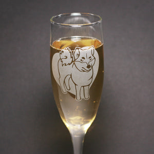 Shiba Inu champagne flute by Bread and Badger