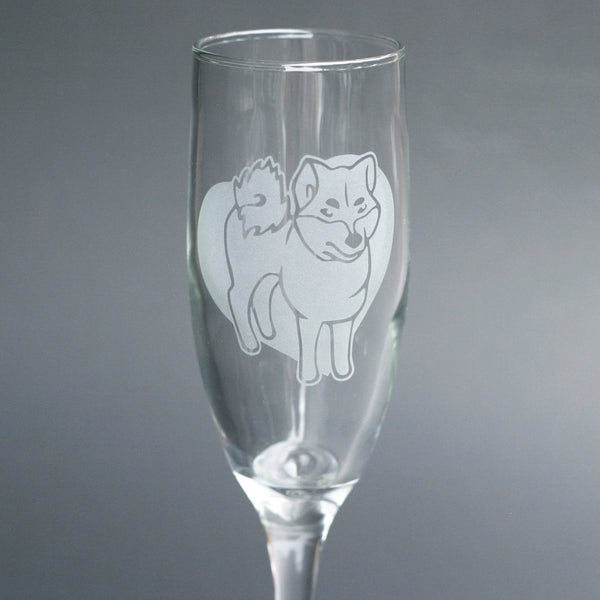 Shiba Dog champagne flute by Bread and Badger