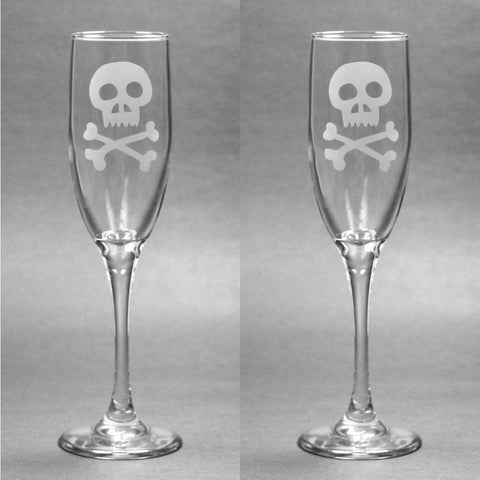 Skull and Bones Champagne Toasting Flutes Set of 2