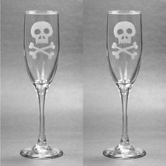 Skull and Bones Glass Champagne Flute (Retired)