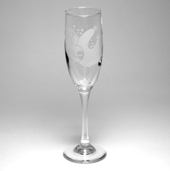 cute sloth champagne glass