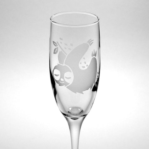 sloth champagne flute