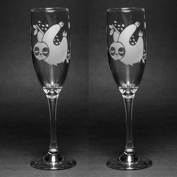 Cute Sloth Champagne Toasting Flutes Set of 2