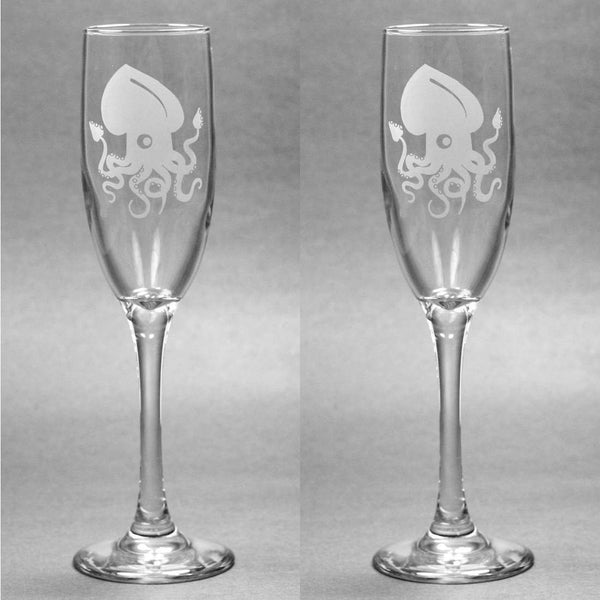 Cute Squid Champagne Toasting Flutes Set of 2