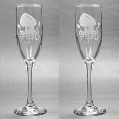 Squid Glass Champagne Flute (Retired)