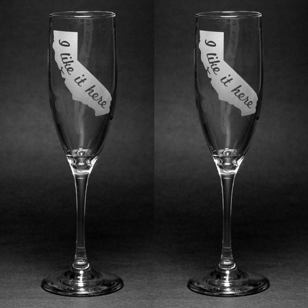 Any State Champagne Toasting Flutes Set of 2