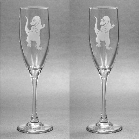 T-Rex Dinosaur Champagne Toasting Flutes Set of 2