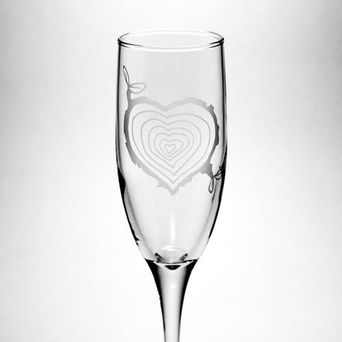 tree stump heart champagne flute by Bread and Badger