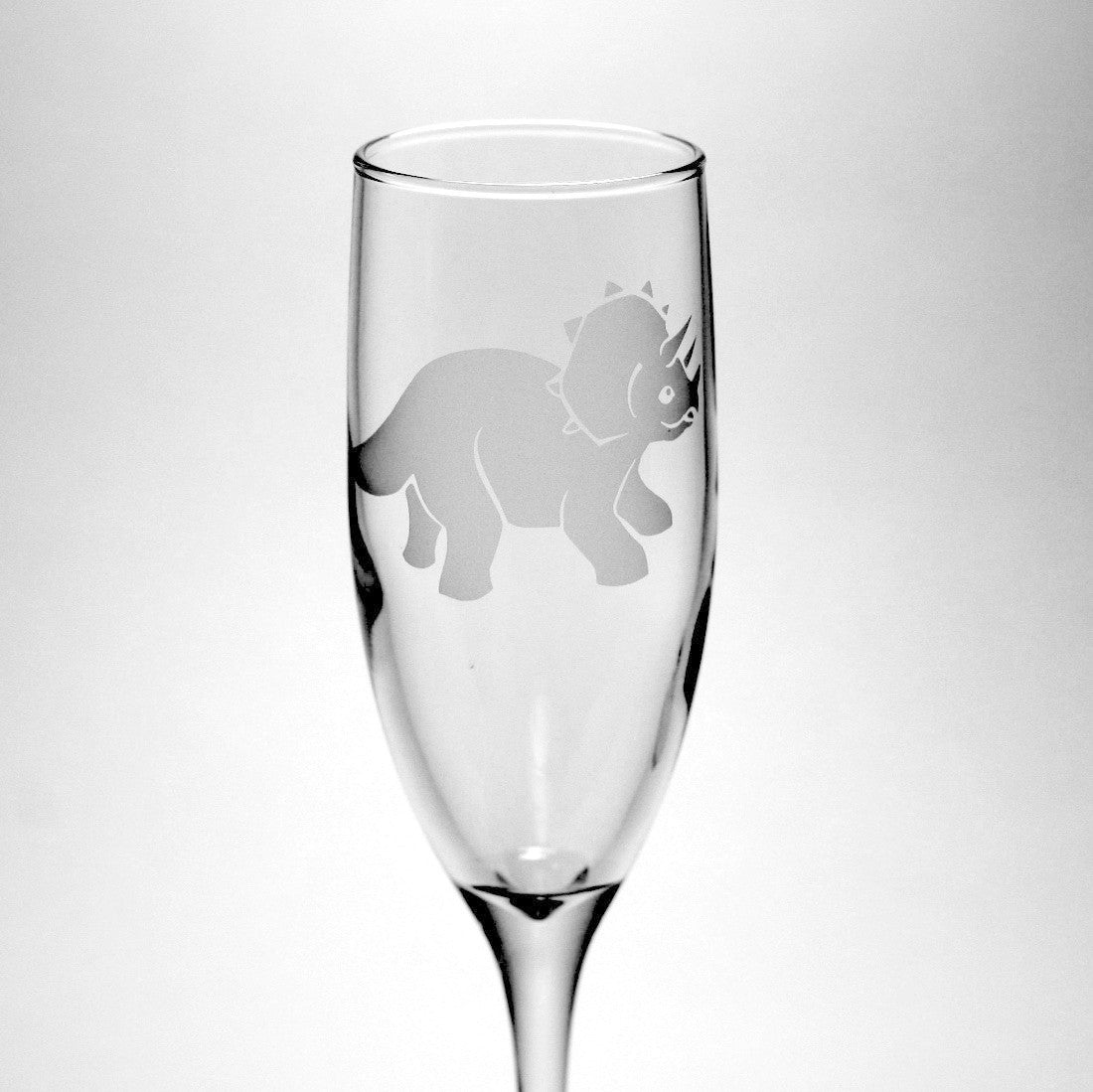 Triceratops champagne flute