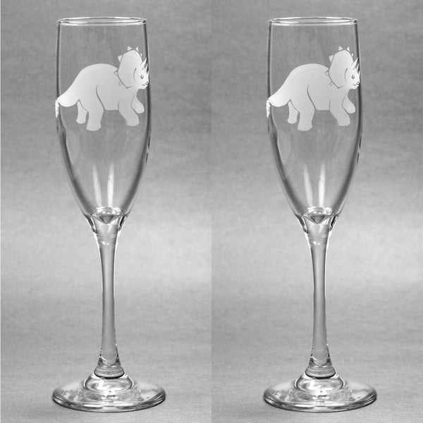 Triceratops Dinosaur Champagne Flutes Set of 2