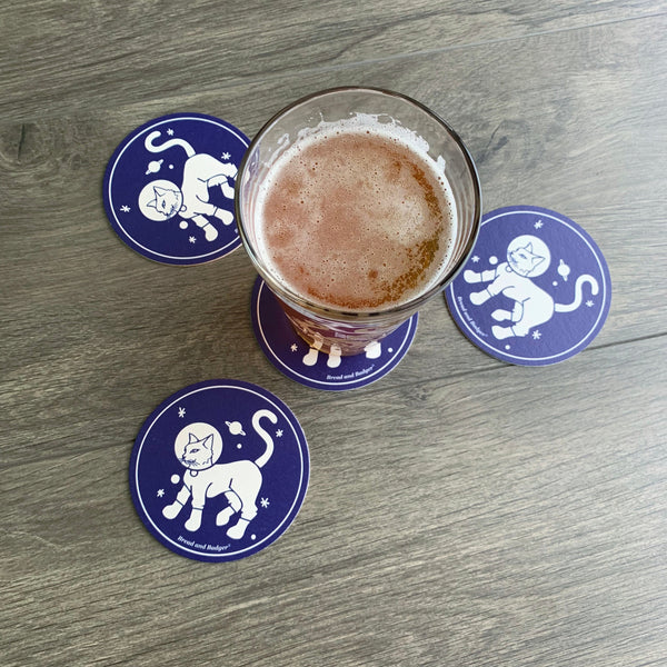 Astronaut Cat coasters by Bread and Badger